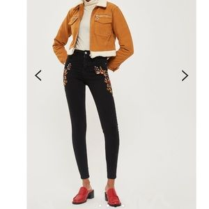 Topshop black embroidered jeans